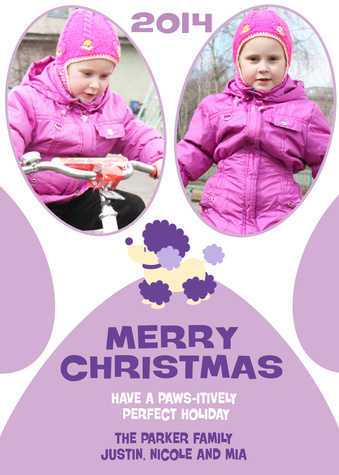 Personalized Holiday Cards, Purple Poodle Design