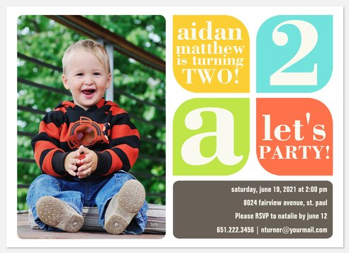 Let's Party Blue Kids' Birthday Invitations