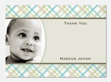 Checks 'n Stripes Blue -  Baby Thank You Notes