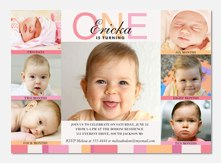 Girl Birthday Party Invitations - Six x One Pink