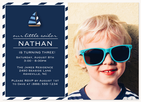 Kids Birthday Invitations, Sailor Stripe Design