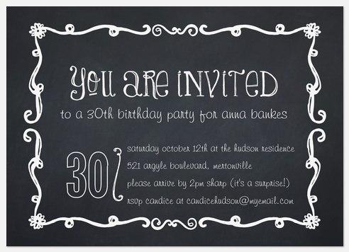 Birthday Chalk Adult Birthday Invitations