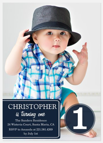 Navy Classic Kids' Birthday Invitations