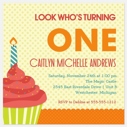 One Big Candle Kids' Birthday Invitations