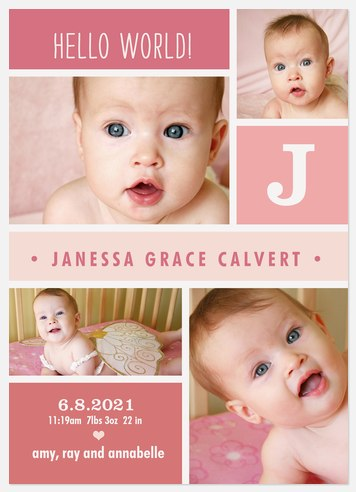Pink Puzzle Pieces Baby Birth Announcements