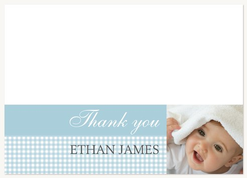 Baby Boy Thank You Cards Blue Baby Check