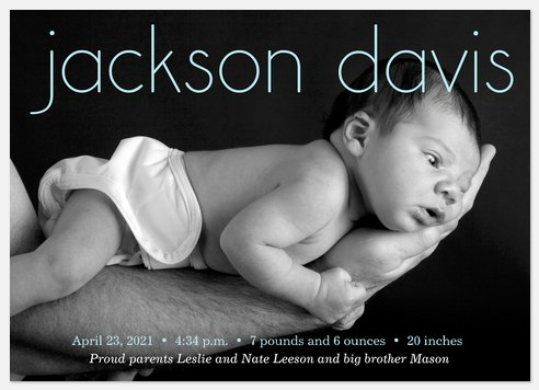 Love In Hand 1 Baby Birth Announcements