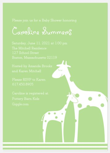 Mamas & Babies Green Baby Shower Invitations
