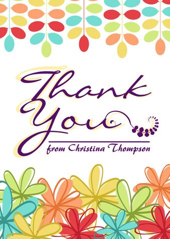 Thank You Cards for Women, Rainbow Garden Design
