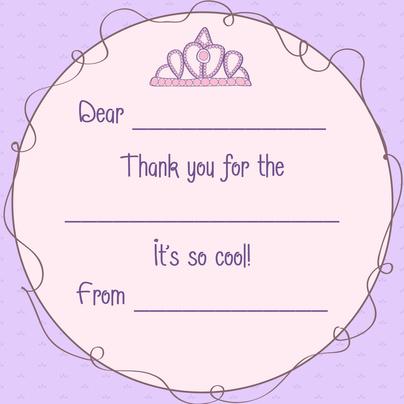 Kids Thank You Cards, Lavender Little Lady Design