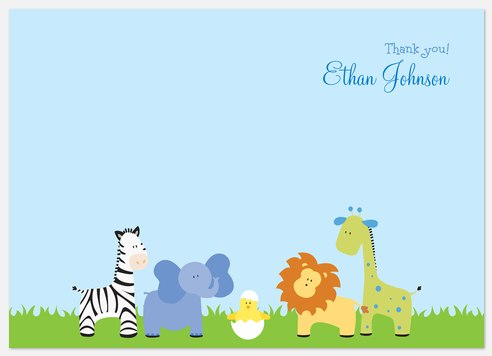 Jungle Mama Blue Thank You Cards