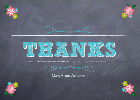 Thank You Cards , Floral Pins Design