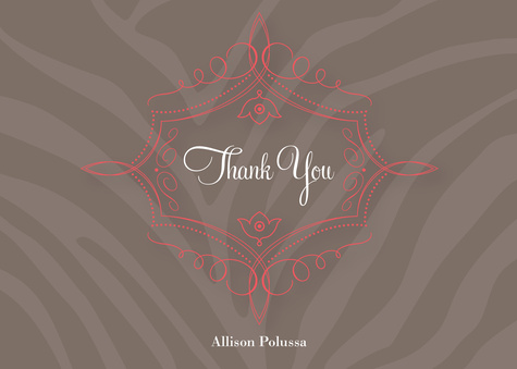 Thank You Cards for Women, Zebra Love Design