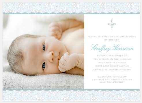 Blue Floral Baptism Christening Invitations