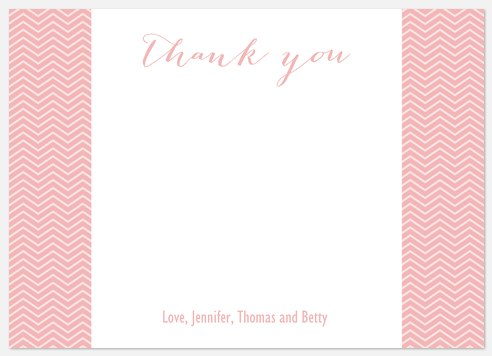 Chevron Showers Pink Thank You Cards