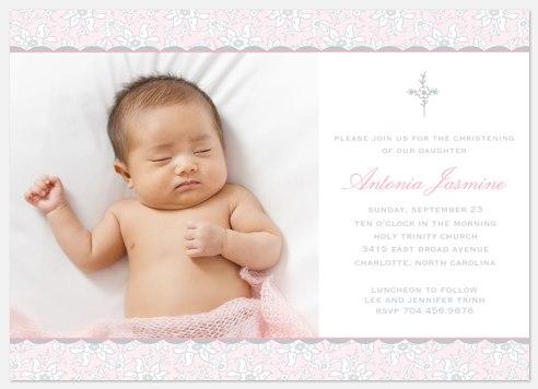 Pink Floral Baptism Christening Invitations