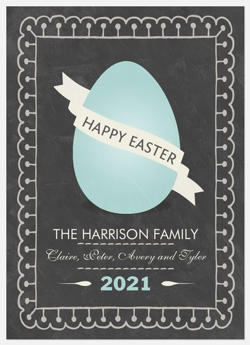 Blue Spring Egg Easter Photo Cards