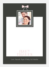 Bow Frame Pink -  Baby Thank You Notes