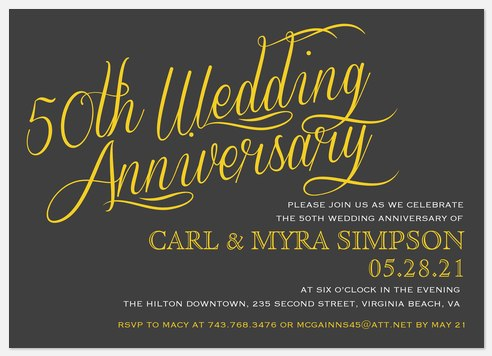 24 Carat Anniversary Invitations