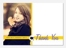 Mortarboard Gold -  Photo Graduation Thank You Cards