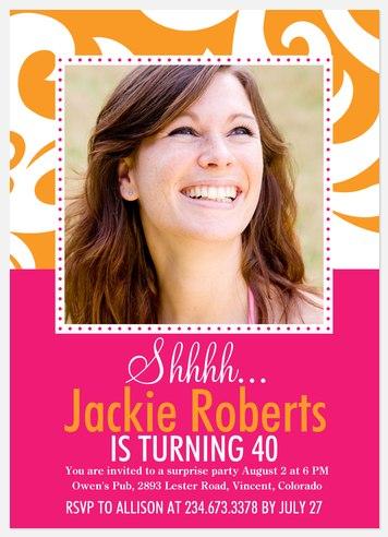 Glow Swirls Adult Birthday Invitations