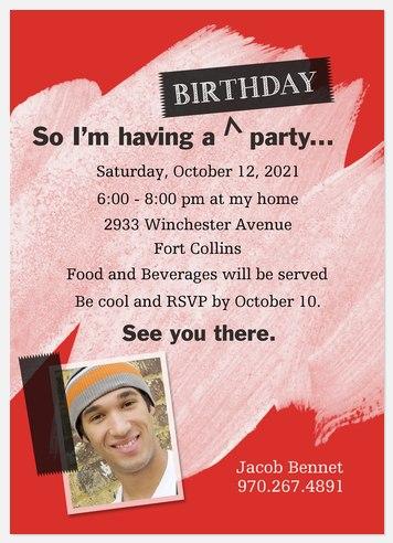 Red Art Kids' Birthday Invitations