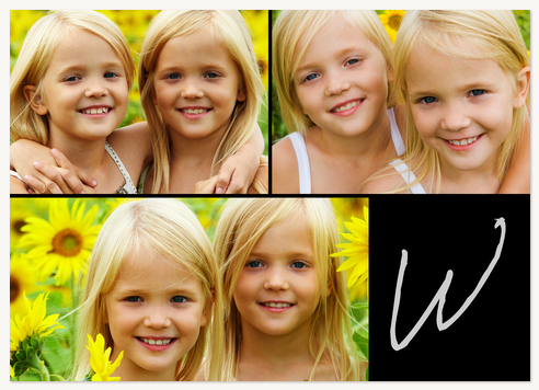Personalized Photo Cards, Three Horiizontal - Black Monogram Design