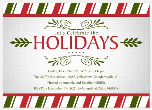 Ribbons n' Boughs Holiday Party Invitations