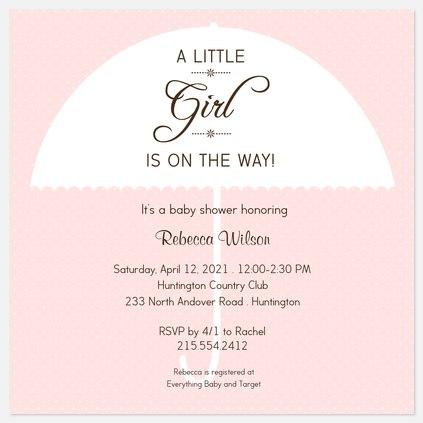 Little Girl Baby Shower Invitations