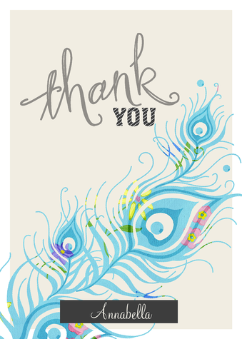 Thank You Cards for Women, Feather Fly Design