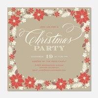 Poinsettia Pretty -  Christmas Party Invitations
