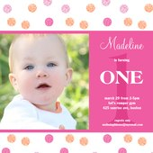 Girl Birthday Invitations - One Dots