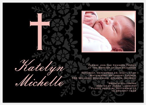Blessing Blooms Pink Baptism Christening Invitations