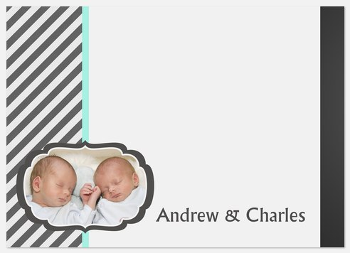 Double Stripe Ribbons Thank You Cards