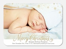 Golden Snowflakes -  Christmas Birth Announcements