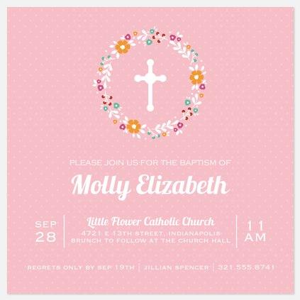 Floral Blessings Baptism Christening Invitations