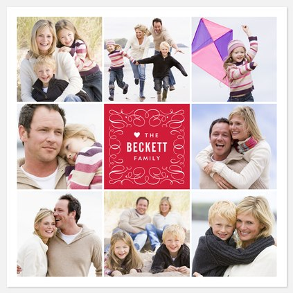 Flourished Square Valentine Photo Cards