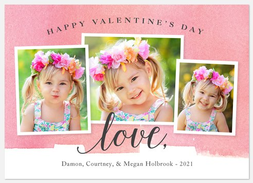 Watercolor Collage Valentine Photo Cards