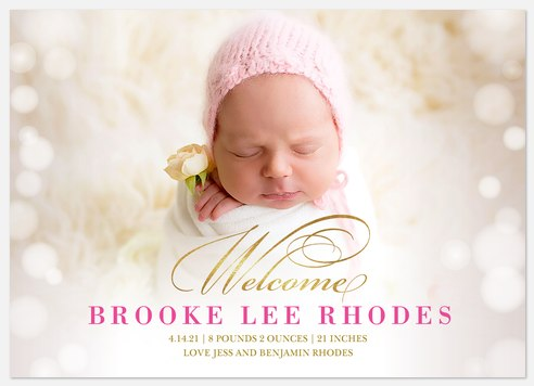 Bokeh Welcome Baby Birth Announcements
