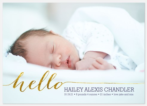 Shimmering Hello Baby Birth Announcements