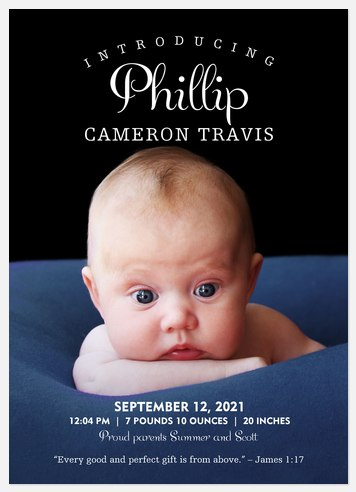 Classic Introduction  Baby Birth Announcements