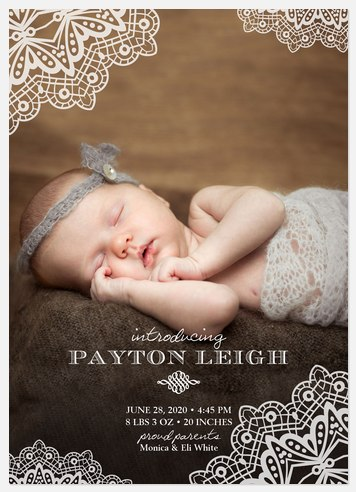 Delicate Lace  Baby Birth Announcements
