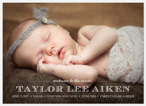 Refined Introductions Baby Birth Announcements