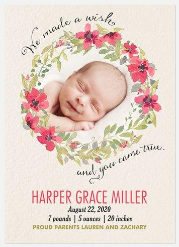 Wish Come True Baby Birth Announcements