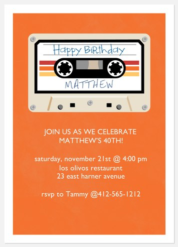 Mix Tape Adult Birthday Invitations