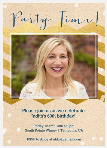 Golden Time Adult Birthday Invitations