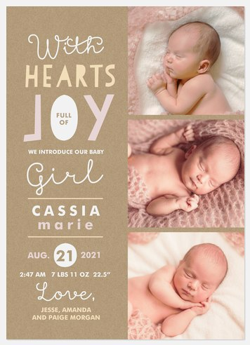 Hearts Full of Joy Baby Birth Announcements