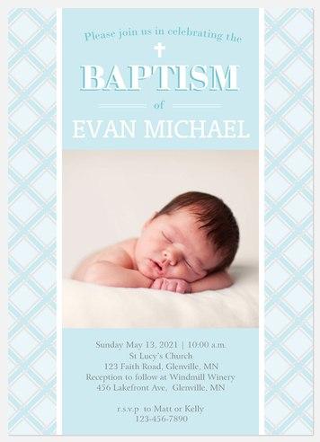 Plaid Baptism Baptism Christening Invitations