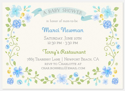 Floral Framed Baby Shower Invitations