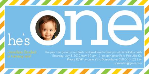Kids Birthday Invitations, Big Blue Stripe Design